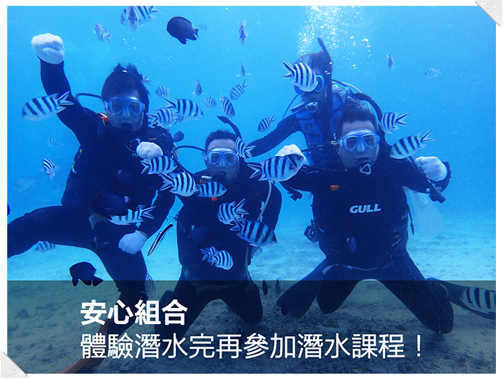 安心組合體驗潛水完再参加潛水過程